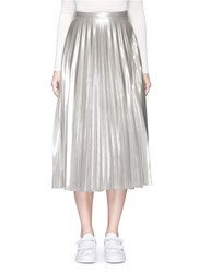 Topshop Pleated Metallic Midi Skirt
