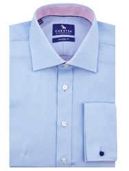 Chester By Chester Barrie Mini Chevron Tailored Fit Shirt Blue