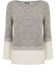 Mint Velvet Grey Flared Sleeve And Rib Knit Grey
