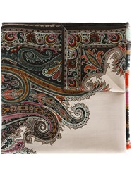 Etro Paisley Print Scarf Nude And Neutrals