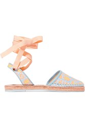 Sophia Webster Juana Leather Trimmed Jacquard Espadrilles Turquoise