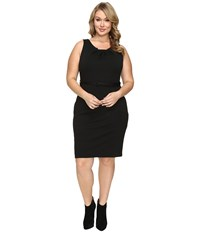Christin Michaels Plus Size Merla Sleeveless Pleated Ponte Dress Black Women's Dress