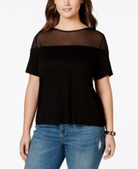 Soprano Plus Size Illusion Short Sleeve Top