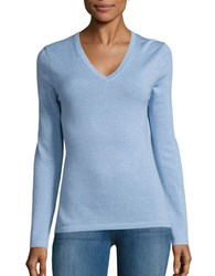 Lord And Taylor Merino Wool V Neck Sweater Blue Shell Heather