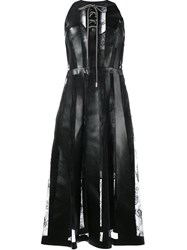 Christopher Kane Lace Insert Faux Leather Dress Black