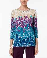 Alfred Dunner Leaf Print Beaded Neck Top Multi