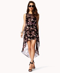 Forever 21 Floral And Lace High Low Dress Black Coral