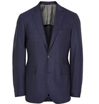 Hackett Blue London Slim Fit Melange Wool Blazer Blue