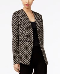Grace Elements Printed Zipper Detail Blazer Black Tan