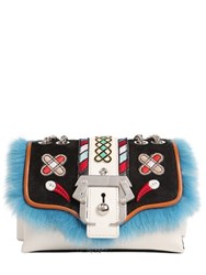 Paula Cademartori Kate Leather Bag W Embroidery And Fur