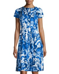 Oscar De La Renta Floral Print Pleated Short Sleeve Dress Lapis Blue