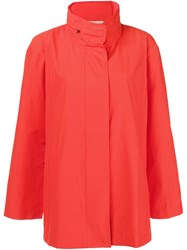 Eileen Fisher Funnel Neck Raincoat Yellow And Orange