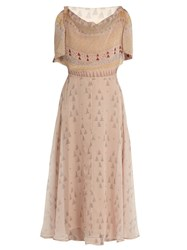 Valentino Boat Neck Geometric Print Silk Chiffon Midi Dress Nude Multi
