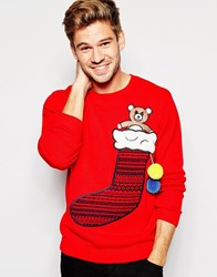 Asos Christmas Jumper With Stocking Red