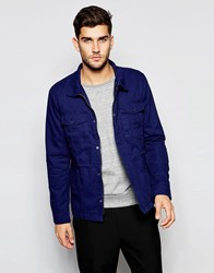 United Colors Of Benetton Lightweight Cotton Jacket With Front Pocket Detail Navy Blue