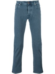 Jacob Cohen Jacquard Skinny Trousers Blue