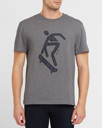 Carven Mottled Grey Embroidered T Shirt With Navy And Green Checks