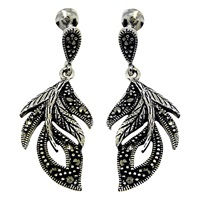 Goldmajor Sterling Silver Marcasite Feather Drop Earrings Silver