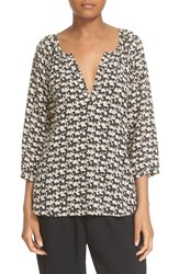 Joie Women's 'Coralee' Horse Print Silk Peasant Blouse Caviar
