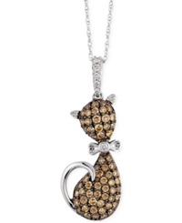 Le Vian White And Chocolate Diamond 3 4 Ct. T.W. Cat Pendant In 10K White Gold