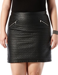 Harper Liv Plus Quilted Leatherette Mini Skirt Black
