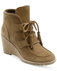 G.H. Bass And Co. Women's Teresa Lace Up Wedge Booties Women's Shoes Chesnut Suede