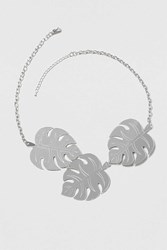 Topshop Resin Leaf Collar Necklace Silver
