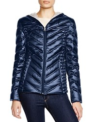 Laundry By Shelli Segal Hooded Short Packable Puffer Jacket Navy
