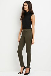 Forever 21 Flat Front Stretch Knit Pants Olive