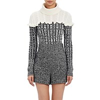 Philosophy Di Lorenzo Serafini Women's Marled Cable Knit Sweater Black Ivory No Color Black Ivory No Color