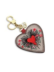 Gucci Embroidered Leather Heart Keychain Beige Red
