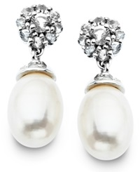 Macy's Sterling Silver Earrings Cultured Freshwater Pearl 7Mm X 10Mm And White Topaz 7 3 4 Ct. T.W. Flower Drop Earrings