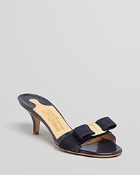Salvatore Ferragamo Open Toe Dress Sandals Glory Oxford Blue Gold