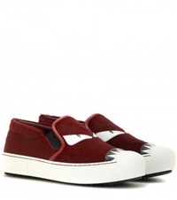 Fendi Calf Hair Slip On Sneakers Red