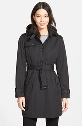 Petite Women's Michael Michael Kors Single Breasted Raincoat Black