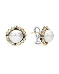 Lagos Sterling Silver And 18K Gold Cultured Freshwater Pearl Earrings With Diamonds Silver Gold