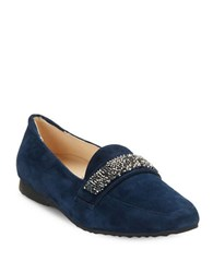 Karl Lagerfeld Quincey Embellished Suede Loafers Midnight