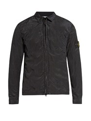 Stone Island Point Collar Nylon Overshirt Navy