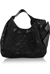 Valentino Crocheted Lace And Mesh Shoulder Bag Black