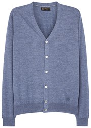 Corneliani Light Blue Fine Knit Wool Cardigan