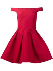 Christian Siriano Off The Shoulder Skater Dress Red