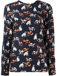 Msgm Cat Print Longsleeved T Shirt Blue