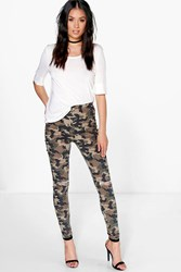 Boohoo Camo Print Tube Jeans With Knee Rips Camo