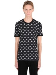 Dolce And Gabbana Crowns Printed Cotton Jersey T Shirt