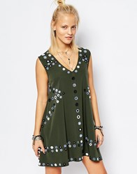 Religion Deep V Neck Swing Dress With Mirror Embelishment Green