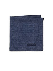 Ralph Lauren Tonal Plaid Wool And Silk Pocket Square Blue