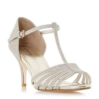 Linea Minette Strappy T Bar Dressy Sandals Gold