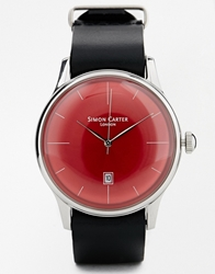 Simon Carter Black Leather Strap Watch With Red Dial