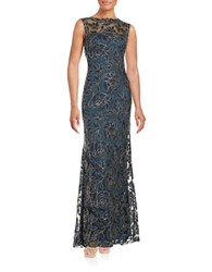 Tadashi Shoji Floral Overlay Gown Starry Night