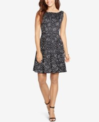 American Living Dotted Fit And Flare Dress Black White